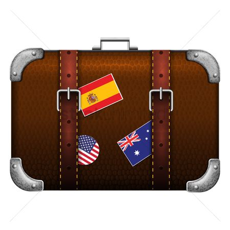 处理 : Travel bag with flag labels