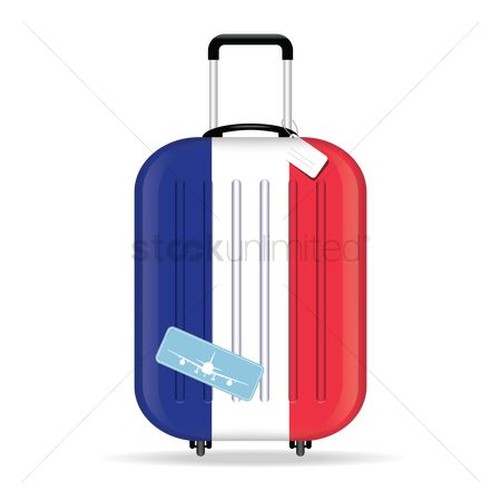 处理 : Travel suitcase with france flag