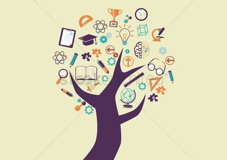 图标 : Tree with education icons