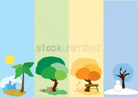 漫画 : Trees in four different seasons