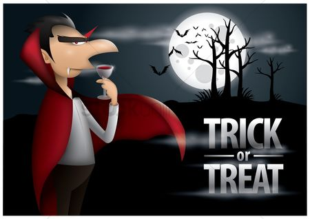 卡 : Trick or treat halloween poster