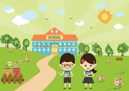 学校 : Two students going to school