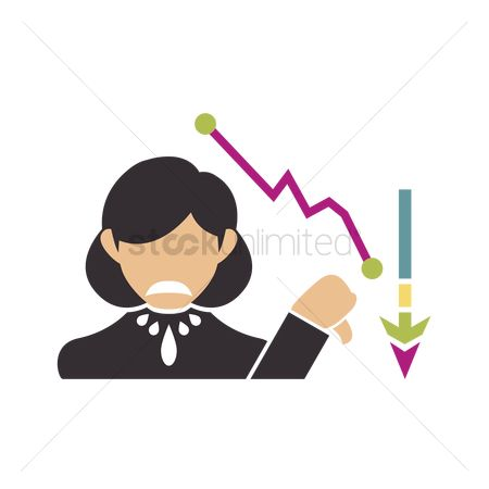 商业 : Unhappy business woman with decreasing graft