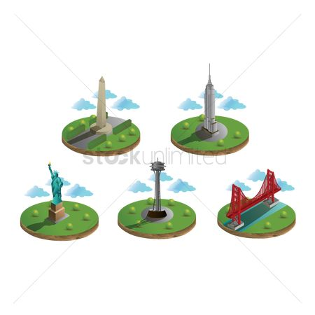 房屋地标 : Usa famous landmarks collection