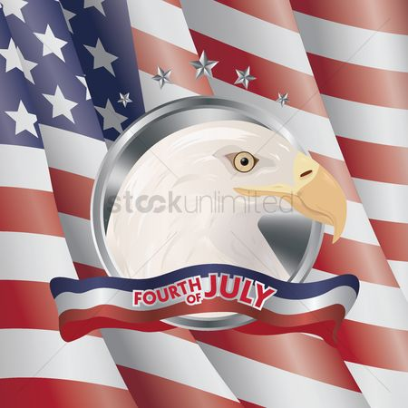 波 : Usa flag with eagle