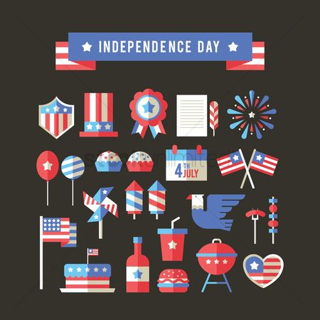 心脏 : Usa independence day icons