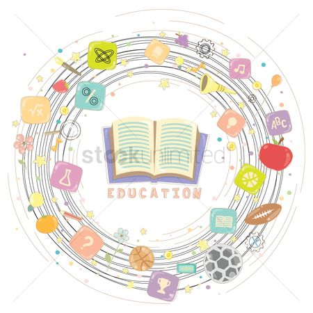 学校 : Various education items in a circle