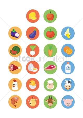 鸟类 : Various fresh farm produce icons