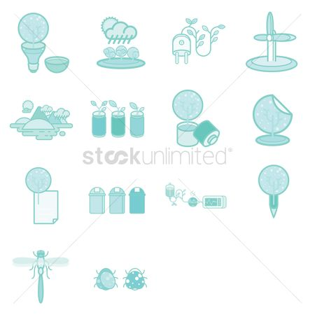环境 : Various recycle and environmental icons