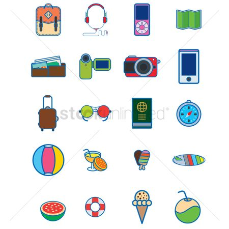 卡 : Various vacation and travel icons