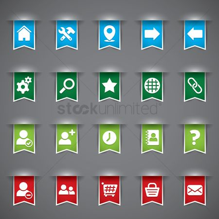 图标 : Various web interface buttons