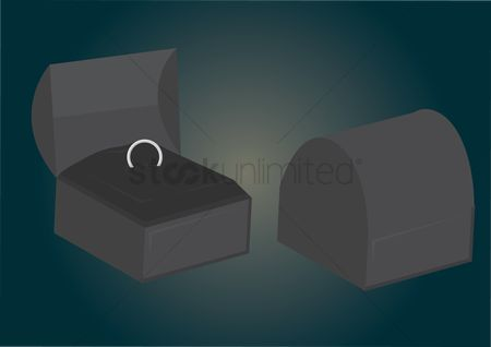 庆典 : Vector of a ring in jewelry box