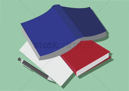 学校 : Vector of books and a pencil