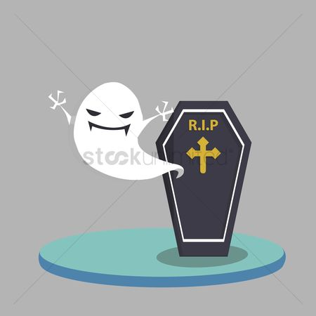 庆典 : Vector of ghost and coffin