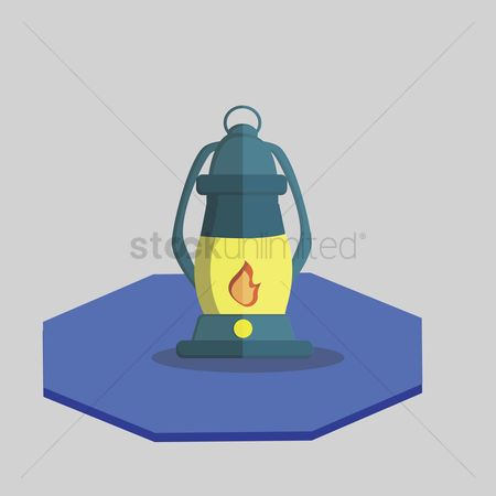 葡萄收获期 : Vector of kerosene lamp