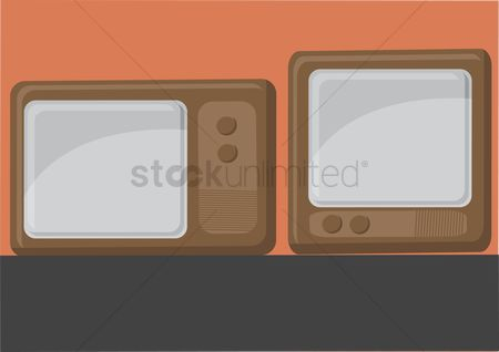 葡萄收获期 : Vector of vintage television set
