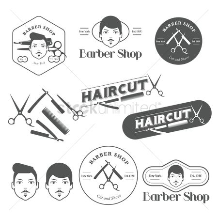 复古 : Vintage barber shop labels