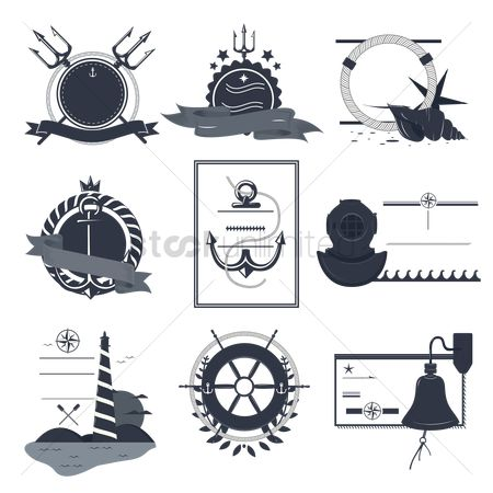 复古 : Vintage nautical labels and icons