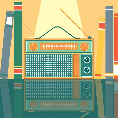 葡萄收获期 : Vintage radio in between books