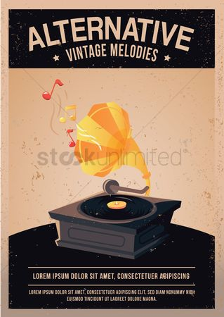 复古 : Vintage record player poster