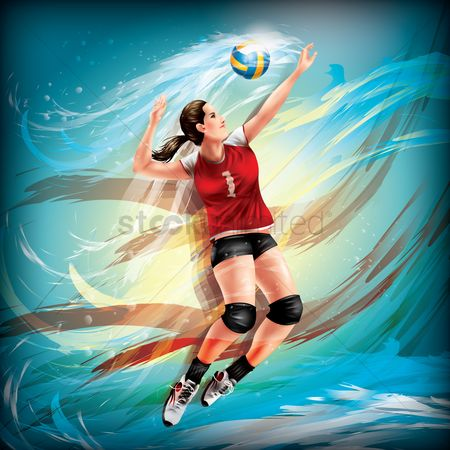 运动员 : Volleyball player in action