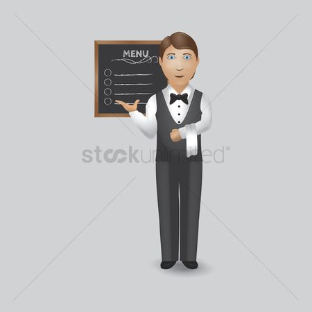 面料 : Waiter showing menu board