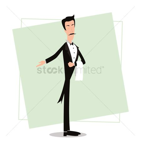 面料 : Waiter with welcome gesture