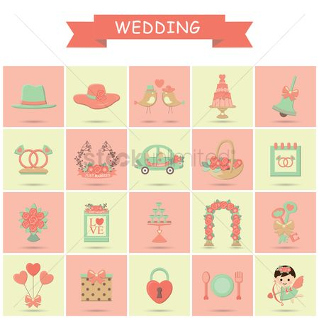 请帖 : Wedding icons