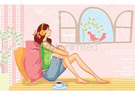 鸟类 : Woman relaxing while listening to music