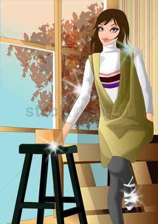内饰 : Woman sitting on table