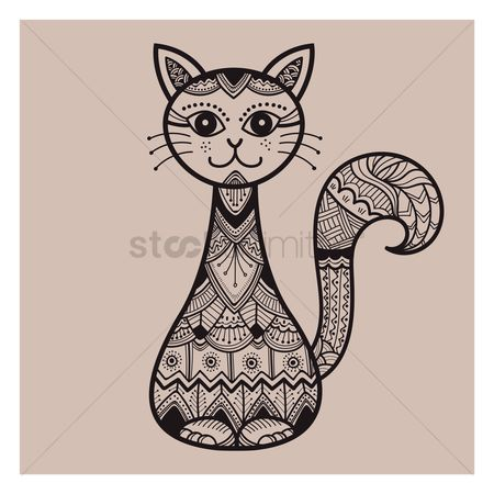 动物 : Zentangle cat design