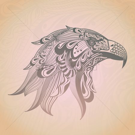 鸟类 : Zentangle eagle