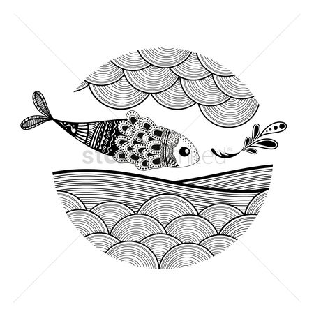 动物 : Zentangle fish design
