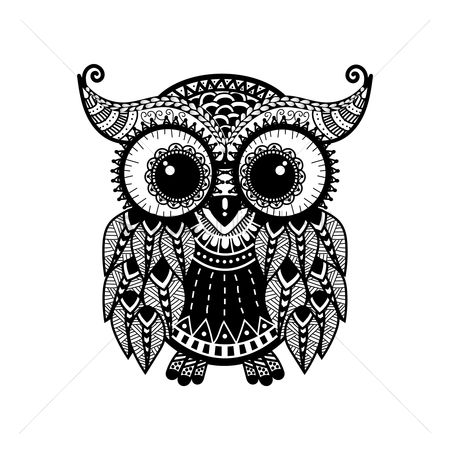 动物 : Zentangle owl design
