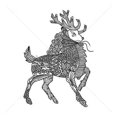 动物 : Zentangle reindeer design