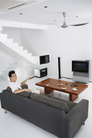 Man in a spacious living room
