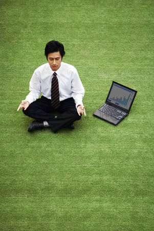 流动性 : Businessman meditating on the field