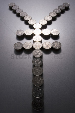 业务金融 : Coins making a yen sign