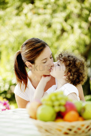 环境 : Daughter kissing mother