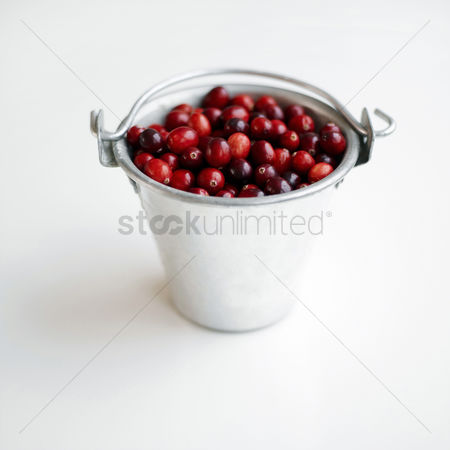 食物 : Red berries stored in an aluminium bucket